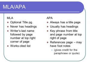 major differences between mla and apa